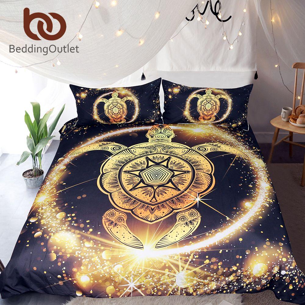 BeddingOutlet Turtles Bedding Set Golden Tortoise Duvet Cover Set King Luxury Shining Animal Printed Bohemian Home Textiles 3pcs