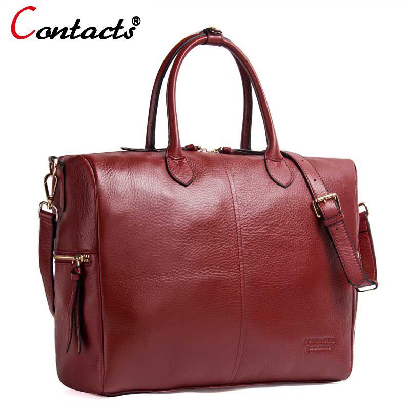 Contact's Genuine Leather Women Bags Female Shoulder Bag Luxury Handbags Women Bags Designer Leather Handbag Tote Messenger Bags