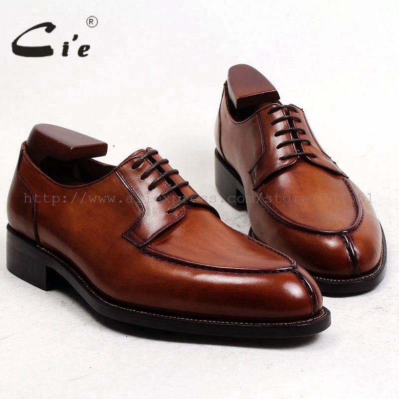 cie Free Shipping Bespoke Custom Handmade Genuine Calf Leather Outsole Breathable Lacing Men's Derby shoe Brown Goodyear No.D143