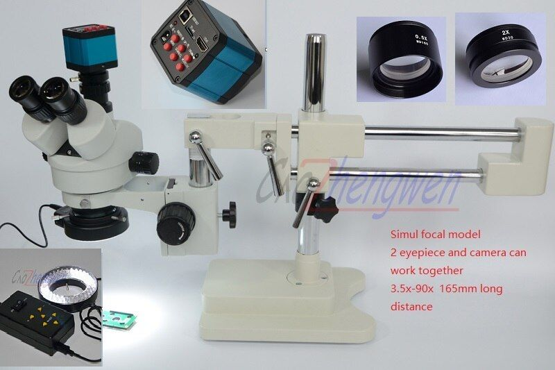 FYSCOPE Microscope Set 3.5X-90X Microscope Double Boom Stand Simul Focal Stereo Zoom Microscope+14MP HDMI+4zone control led