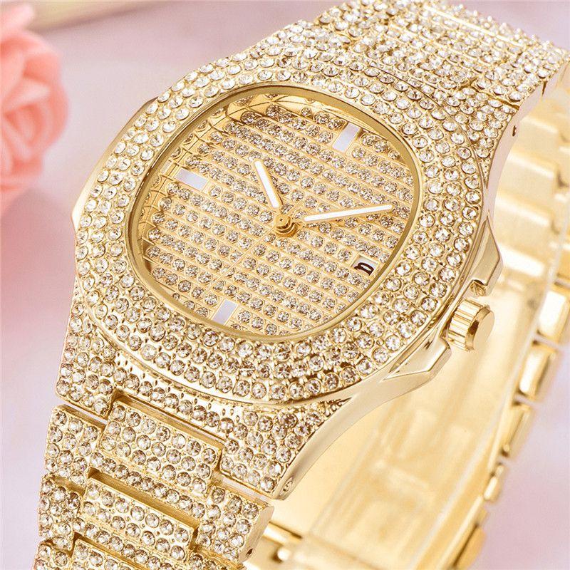Mode luxe diamant or montre pour hommes marque Date Quartz montres hommes calendrier horloge affaires montres relojes hombre 21