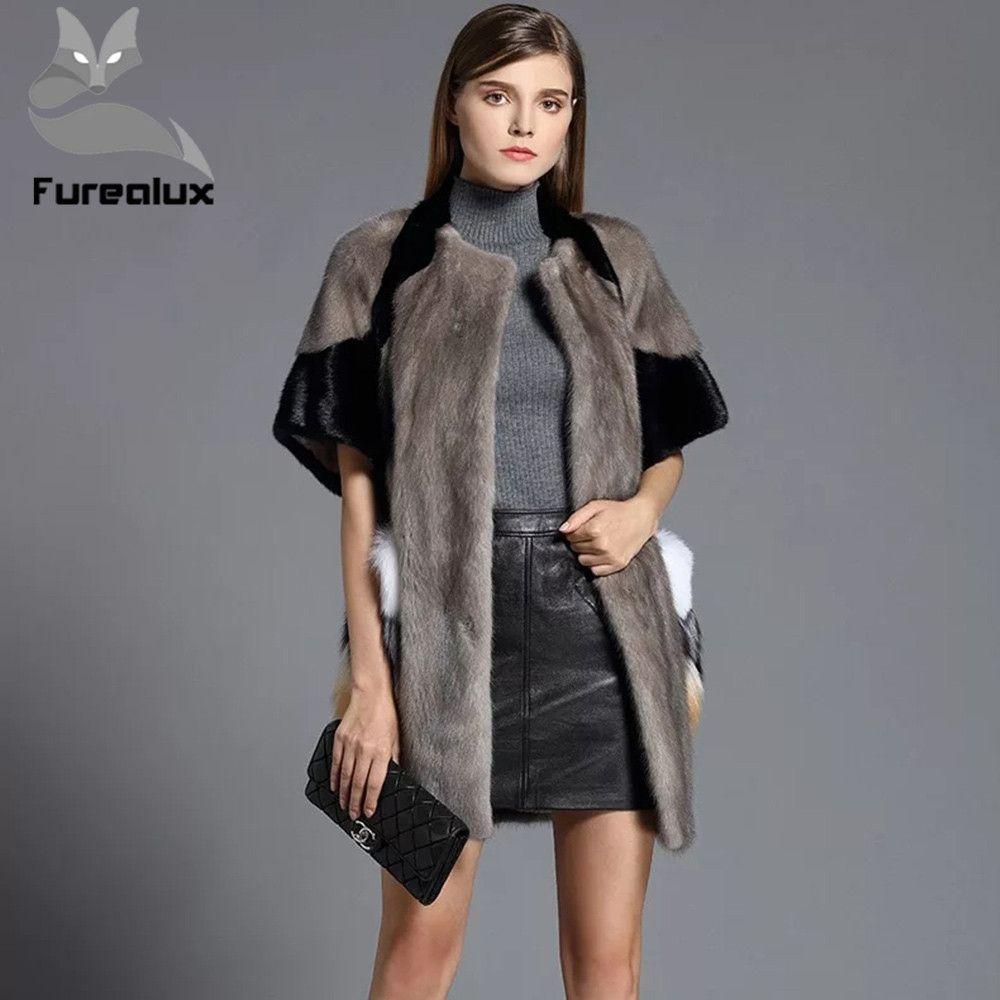 Furealux 2019 Natural Real Nerz Mantel Frauen Pendeln-Freizeit Lange Real Nerz Jacke Frauen Winter Damen Echt pelz Mantel