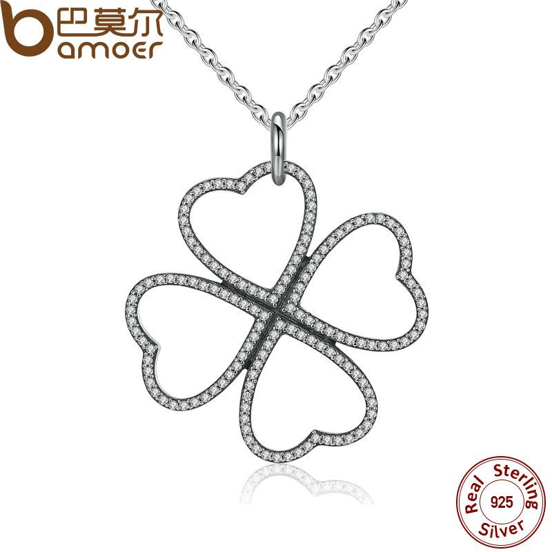 BAMOER Summer New 925 Sterling Silver Petals of Love, Clear CZ Clover Necklace & Pendant For Women Chain Necklace PSN007