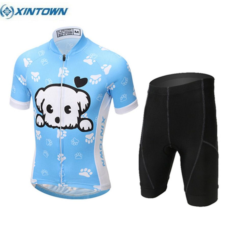 Cartoon Pattern Cute Children Cycling Jersey and Kids Short Sleeve XINTOWN Riding Cycling Clothing Ropa Ciclismo S-XXL