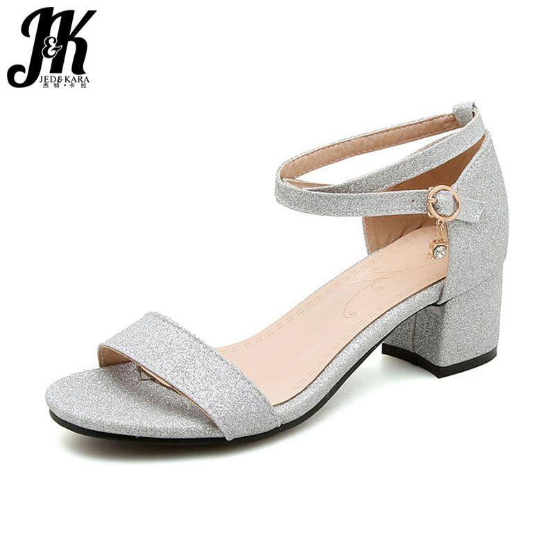 JK 2018 Summer Buckle Strap Sandals Fashion <font><b>Bling</b></font> Women Shoes Casual Girl Open Toe Sandals Med Heels Footwear Gold Sliver Black