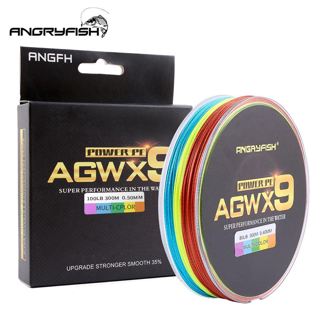 ANGRYFISH 9 brins 300 m Super PE tressé ligne de pêche 6 couleurs ligne forte