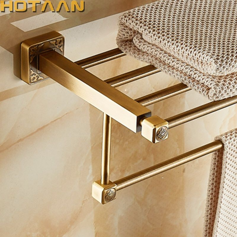 Aluminum Wall Mounted Square Antique Brass Bath Towel Rack Active Bathroom Towel Holder Double Towel Shelf Bathroom Accessories