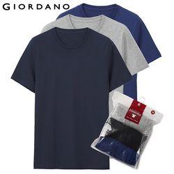Giordano Pria T Shirt Pria Lengan Pendek 3-Pack Tshirt Men Solid Kapas Pria TEE Musim Panas T Shirt Pria pakaian Sous Vetement Homme