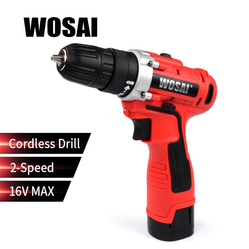 WOSAI 16 V Électrique Tournevis Perceuse sans fil Mini Sans Fil Conducteur à Réglage Électrique DC Lithium-Ion Batterie 3/8