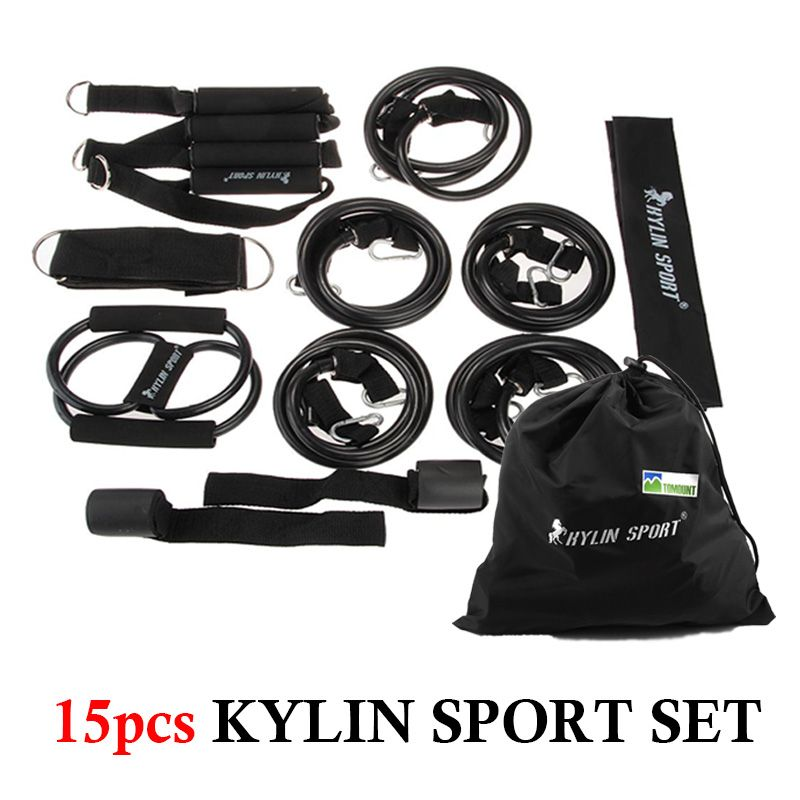 Kylin sport 15 stücke set kit fitness resistance band rohr yoga pilates übung elastische dehnung bands training neue