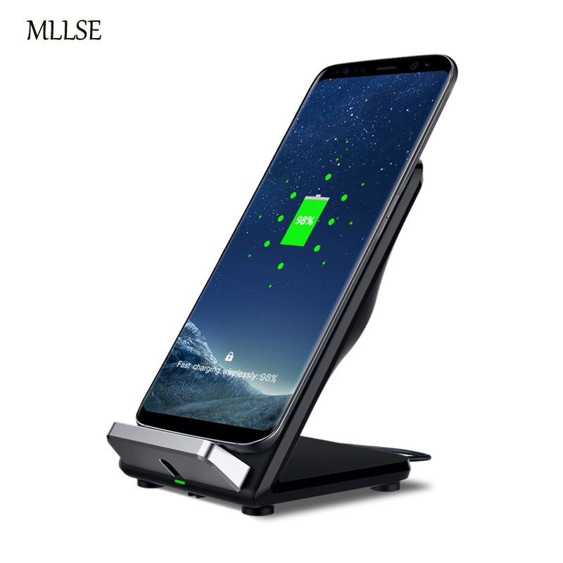 MLLSE Qi Wireless Fast Charger Stand Pad 2 Coils Fan For Samsung Galaxy S6 Edge S7 Edge S8S8 Plus wireless fast charge for Note8
