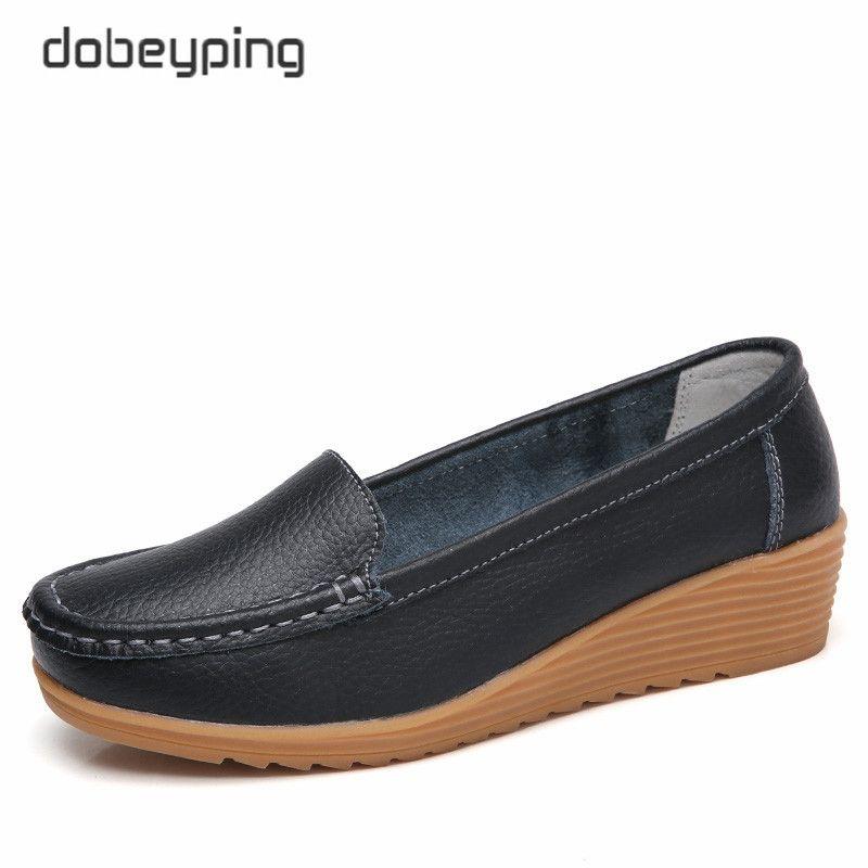 Dobeyping mocassins femme en cuir véritable mocassins femme appartements décontracté mère chaussures antidérapant femmes enceintes chaussures souples