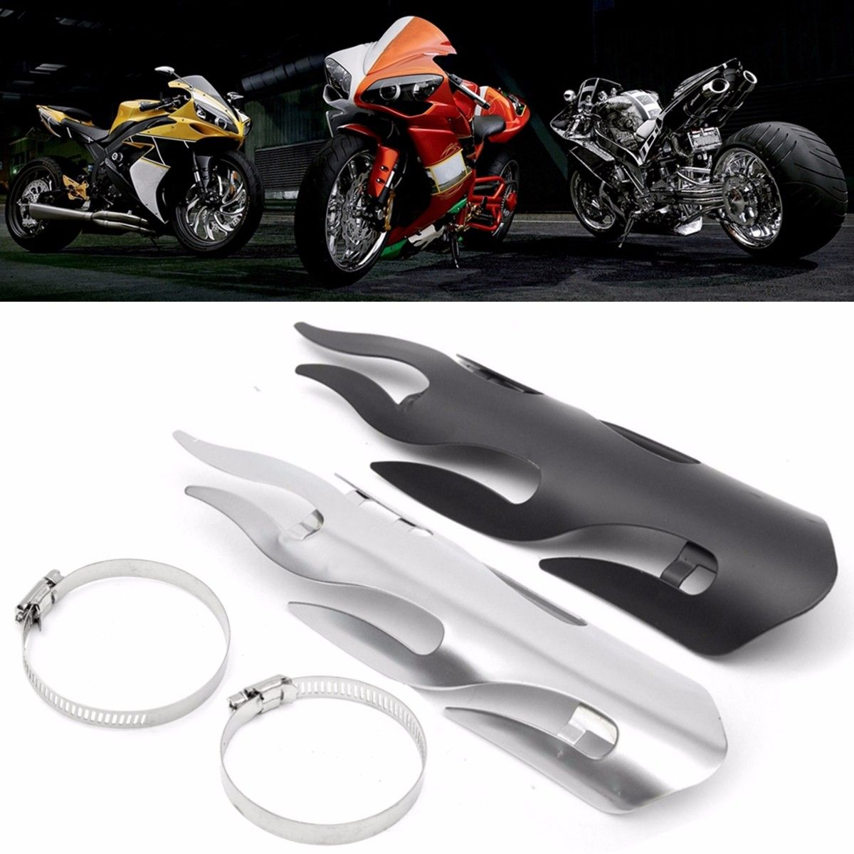 Black/Chrome 9 Inch Exhaust Muffler Pipe Heat Shield Flame Cover Heel Guard For Yamaha for Suzuki for Harley