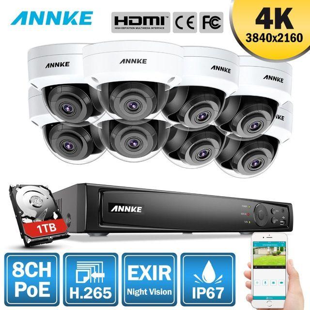 ANNKE 8CH 4 K Ultra HD POE Netzwerk Video Security System 8MP H.265 NVR Mit 8 stücke 8MP 30 m EXIR Nachtsicht Wetterfeste IP Kamera