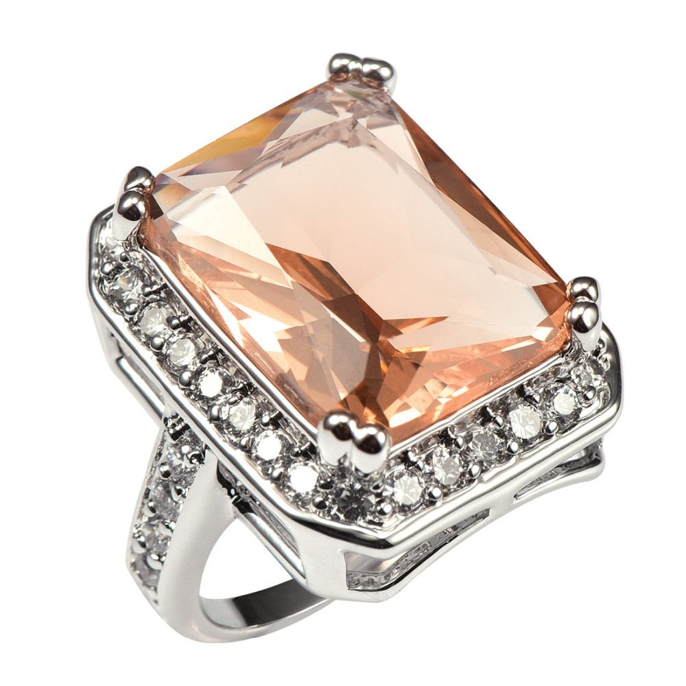 Shiny Morganite With Multi White Crystal Zircon 925 Sterling Silver Factory price Ring For Women Size 6 7 8 9 10 11 F1481
