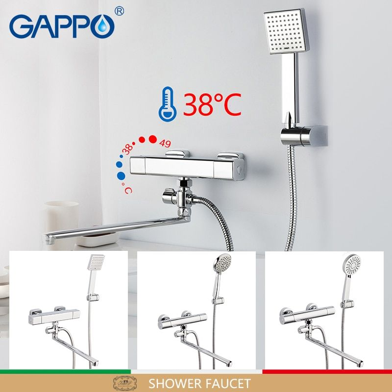 GAPPO shower faucet thermostat mixer tap round Accessories water pipe 1.5m plumbing hose rain shower head SPA showerhead