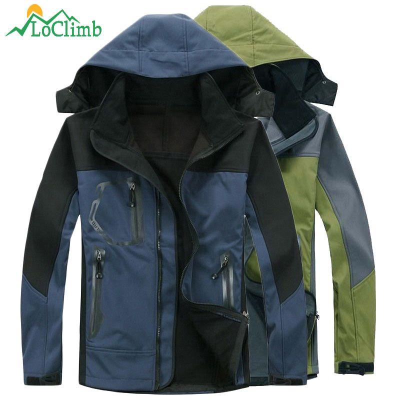 LoClimb Softshell Wasserdicht Camping Wandern Jacke Herren Trekking Bergsteigen Mantel Winter Warme Fleece Ski Jacken, AM037