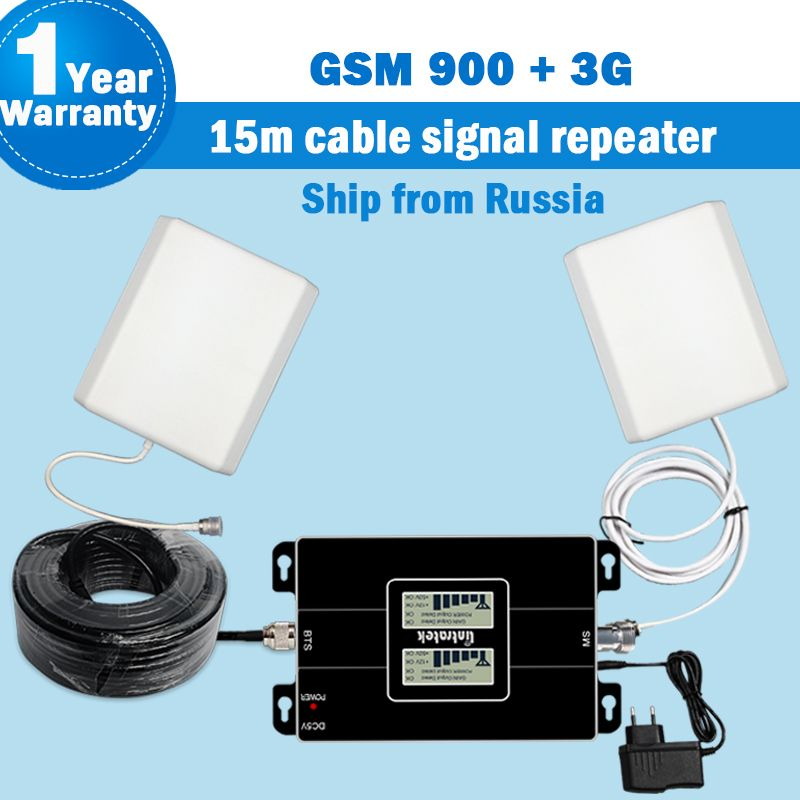 Ship From Russia 2G 3G 900MHz 2100MHz 3G Dual Band Signal Booster Amplifier 3G Repeater WCDMA 65dB Mobile Cellular Repetidor S35