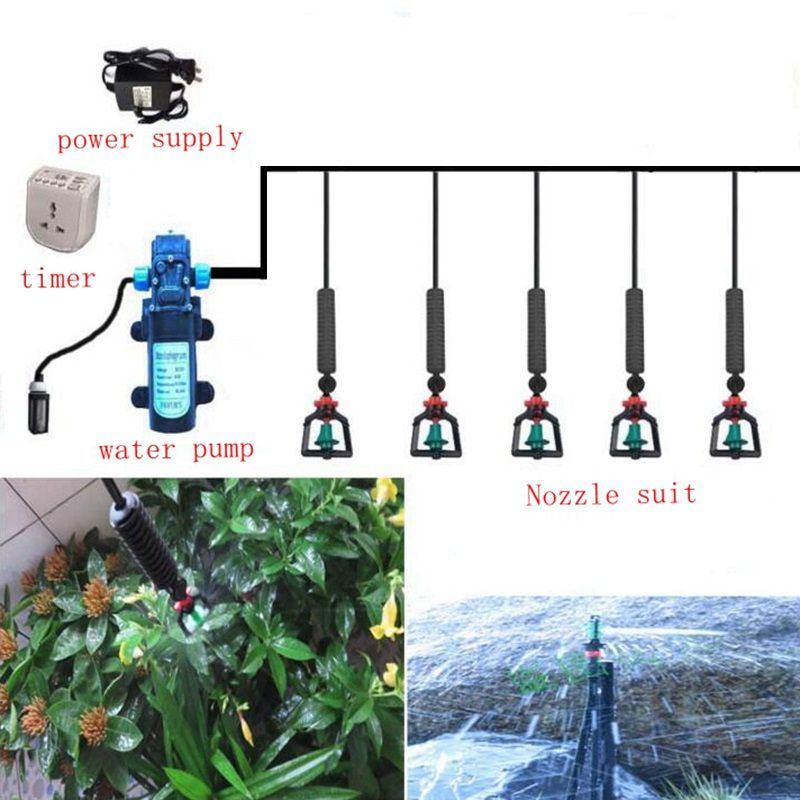 15m 8/11mm to 4/7mm DC Pump Irrigation System Hanging Sprinkling Irrigation Kit With 8 Sets Rotary Atomizer Nozzle Sprinkler