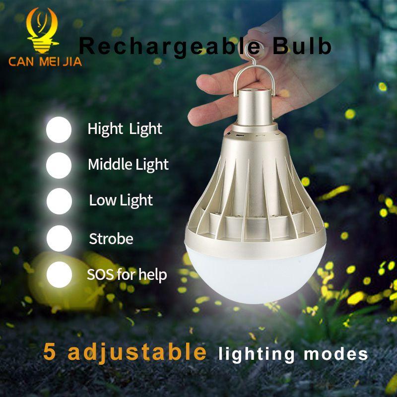 Lumière de Ampoule LED rechargeable USB Dimmable 220 V 12 W 20 W 30 W 40 W E27 Ampoule de secours lampe à LED éclairage extérieur pour Camp de pêche