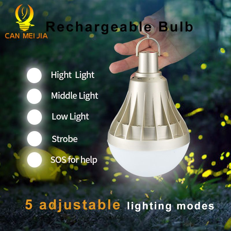 Lumière de Ampoule LED rechargeable USB Dimmable 220V 12W 20W 30W 40W E27 Ampoule de secours lampe à LED éclairage extérieur pour Camp de pêche