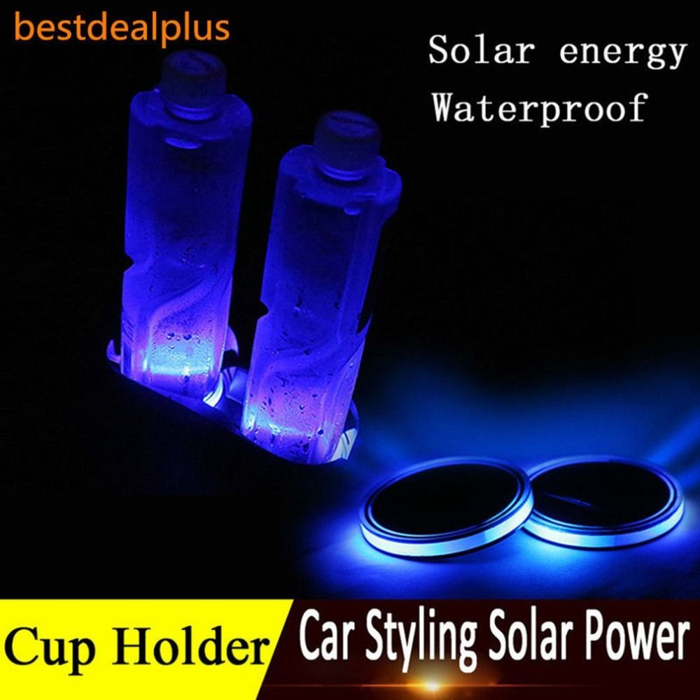 Newest Universal Solar LED Car Cup Holder Mat Anti Slip Waterproof Pad Bottle Drinks Coaster Atmosphere Lamp for Car SUV Truck