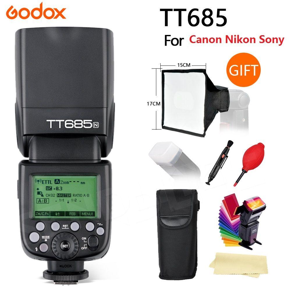 Godox TT685 Flash TTL Camera Flash speedlite High Speed 1/8000s GN60 for Canon Nikon Sony Fuji Olympus DSLR Camera +gifts