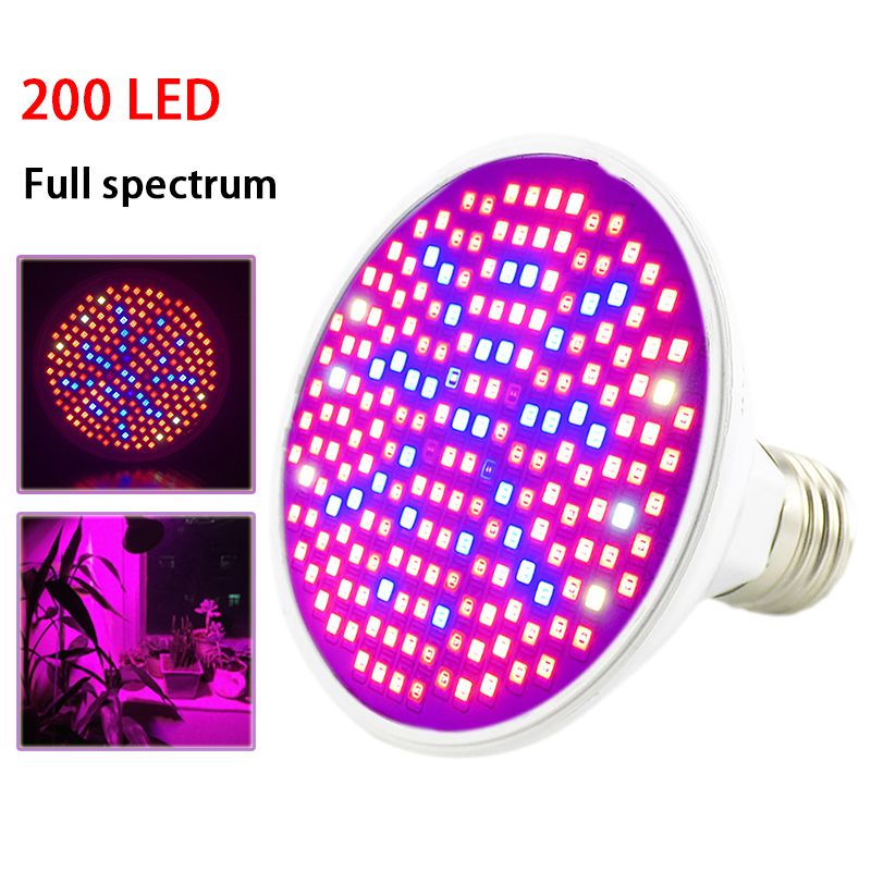 2018 NEW 200 LED Plant Grow Light Lamp UV IR Full spectrum Growing Bulbs Hydroponics for Flower seeds Veg Indoor Greenhouse E27