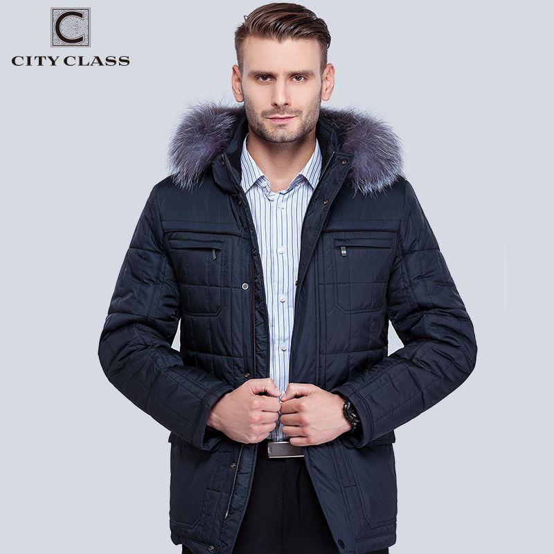 Ville classe hommes hiver Thinsulate manteaux argent renard à capuche vestes épais chaud mode décontracté col montant amovible chapeau 14342