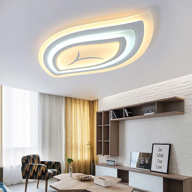 Dimmbare moderne led-deckenleuchten für wohnzimmer schlafzimmer fernbedienung ultradünne acryl moderne led-deckenleuchte freies mail
