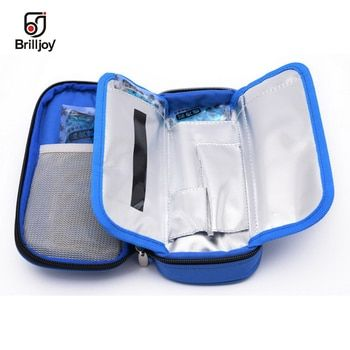 Brilljoy Portable Insulin Cooling Bag Ice Pack Thermal Cooler Bag Refrigerator Bolsa Termica 4-24 Degree Centigrade Display A50