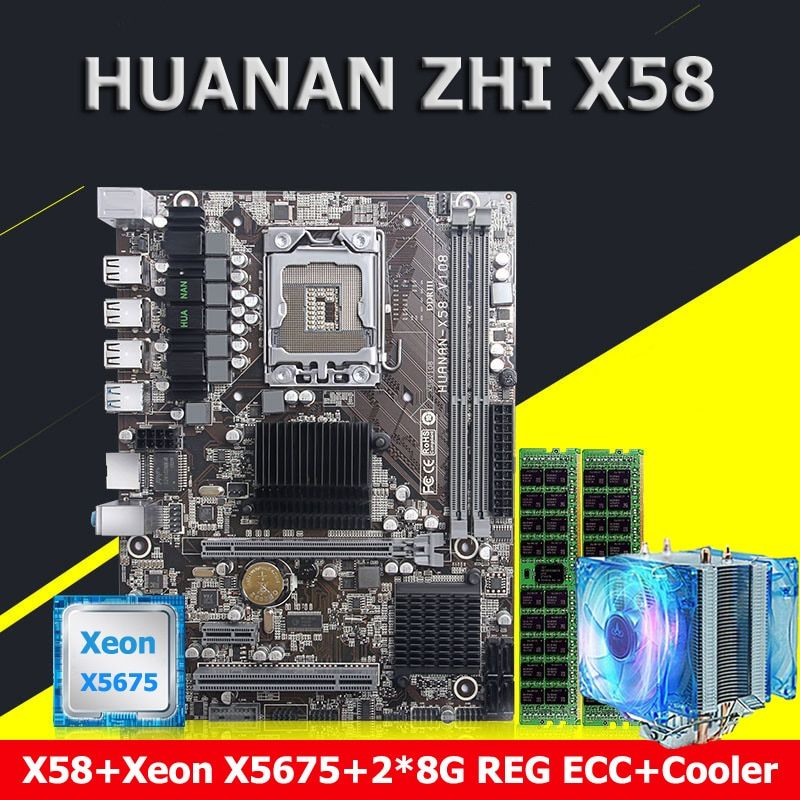 HUANAN ZHI X58 LGA1366 motherboard CPU Xeon X5675 3.06GHz with cooler memory 16G(2*8G) DDR3 REG ECC building perfect computer