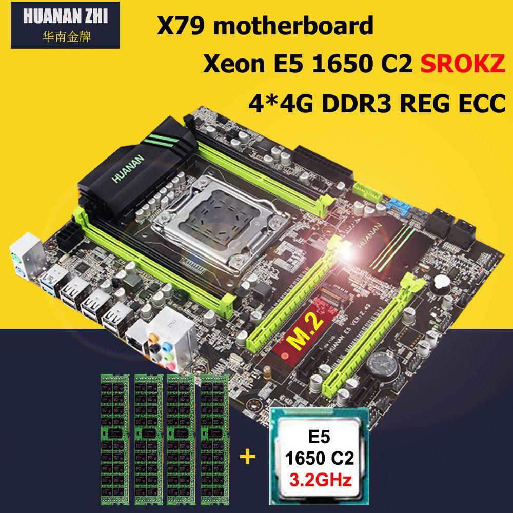 HUANAN ZHI V2.49/2,49 p X79 motherboard CPU RAM combos Intel Xeon E5 1650 3,2 ghz RAM 16g (4*4g) DDR3 RECC PCI-E NVME SSD M.2 port