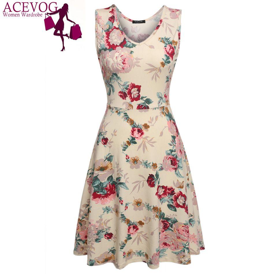ACEVOG Marke 2017 Sommer Vintage Kleid Frauen Sexy 1950 s 60 s Dame Blumendruck Robe Ärmel Kleider Feminino Vestidos Mujer