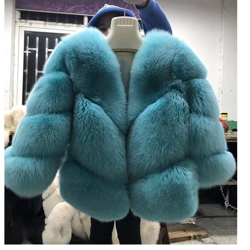 FURSARCAR 2018 Neue Echtpelz Jacke Frauen Winter Fuchs Pelz Luxus Warme Mode Twill Design Kurze Reale Natürliche Pelz Jacke