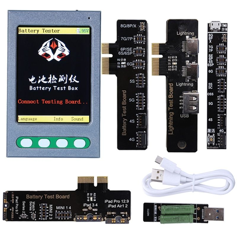 Battery Tester For iPhone X 8 8P 7 7P 6 6S 5 For iPad iWatch Apple Battery Checker For iPhone USB Cable Tester Clear Cycle