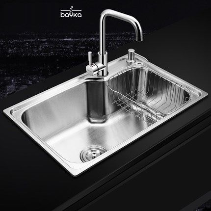 BAYKA 201 / 304 Stainless Steel Brushed Matte Kitchen sink, Drain Assembly Waste Strainer ,Basket, Faucet, Dispensor (Optional)
