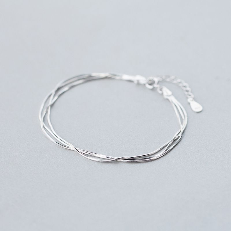 wholesale Real. 925-Sterling-Silver TRIPLE Rows multi-layers Snake Bone chain bracelet adjustable Sterling Silver jewelry LS292