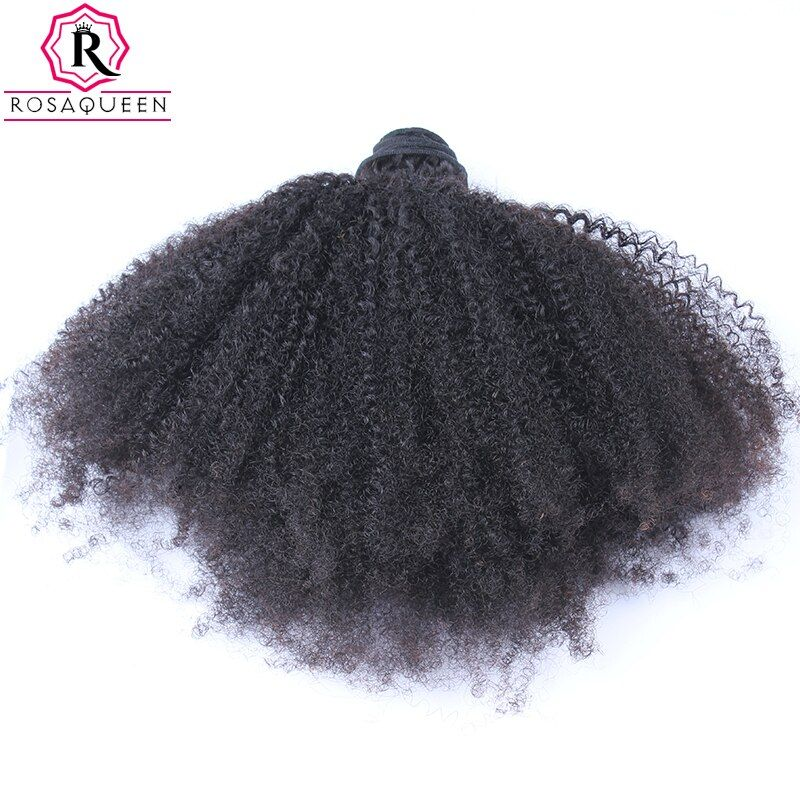 Mongolian Afro Kinky Curly Hair Weave 4B 4C 100% Natural Human Hair Bundles 1 Piece Remy Extensions Rosa Queen Hair Products