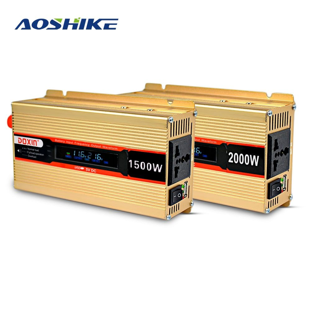 Aoshike 1500W 2000W DC 12V to AC 220V Vehicle Car Inverter Power Supply Switch Charger Adapter Converter