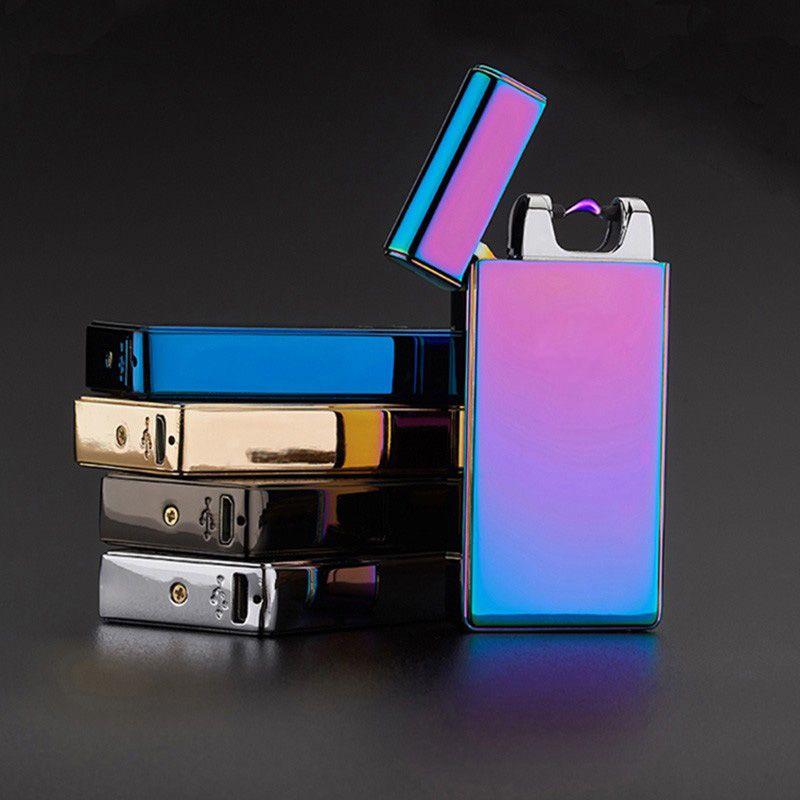 Creative Briquets Double Arc Pulsé Électronique Allume-cigare USB Briquets Fumeur Sexy Glace Homme Cinq Couleurs Disponibles HG0319