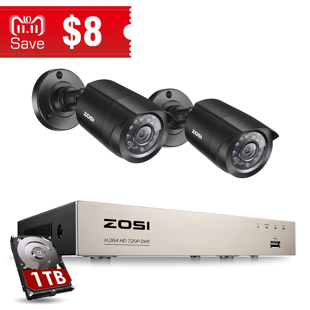 ZOSI 4CH DVR CCTV System 2CH/4CH 1.0 MP IR Outdoor Security Cameras 720P HDMI TVI CCTV DVR 1200TVL Surveillance Kit