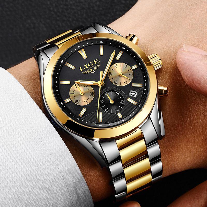 Relojes Hombre 2018 New LIGE Mens Watches Top Brand Luxury Full Steel Business Quartz Watch Men Military Sport Waterproof Clock
