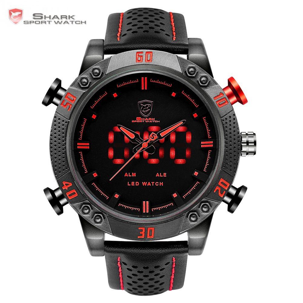 Kitefin <font><b>Shark</b></font> Sport Watch Brand Mens Military Quartz Red LED Hour Analog Digital Date Alarm Leather Wrist Watches Relogio /SH261