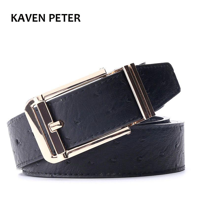 Ceinture d'autruche hommes ceintures Cummerbunds taille en métal doré ceinture en cuir pur pour hommes avec Designer noir de haute qualité livraison gratuite