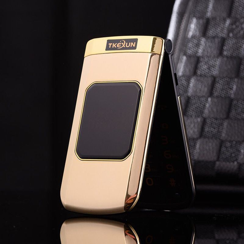 TKEXUN M3 Women Flip Phone With Double Dual Screen Dual Sim Camera MP3 MP4 2.4 Inch Touch Screen Luxury Cell Phone