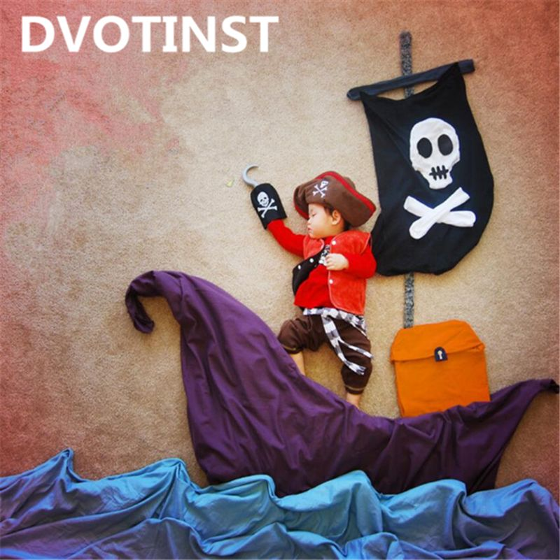 Dvotinst Baby Photography Props Pirate Navigation Theme Background Clothes Set Fotografia Accessory Studio Shooting Photo Prop