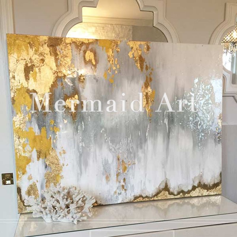 Hand Painted Modern Abstract Oil Paitning rust Wall Art Gold,Gray,White,Sil Oil Painting Canvas Living Room and office Artwork