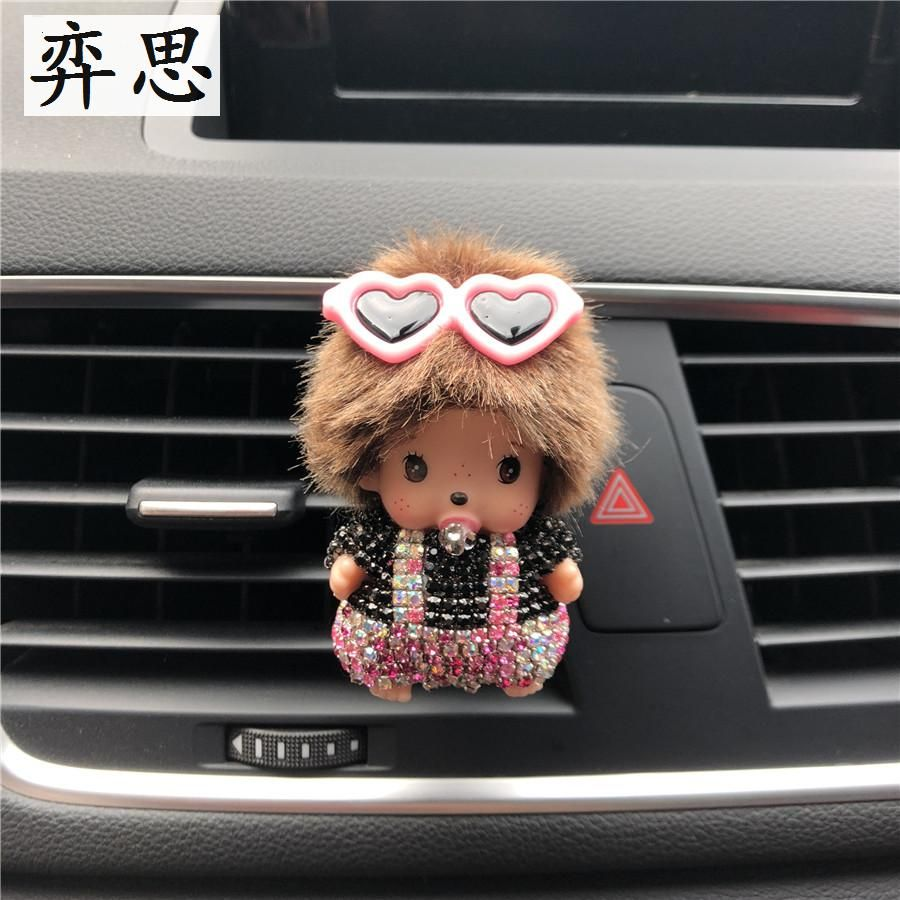 Lovely colorful water drill girl Automobile air conditioner decoration perfume clip Lady air freshener Car perfume ornaments