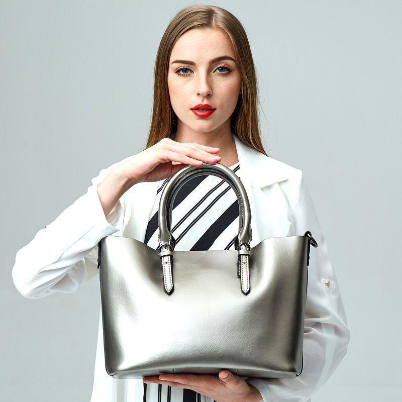 Подходящий размер 32 см * 25 см * 15 см натуральная кожа женские сумки на ремне демисезонные Модные женские балетки на плоской подошве, коричнев...
